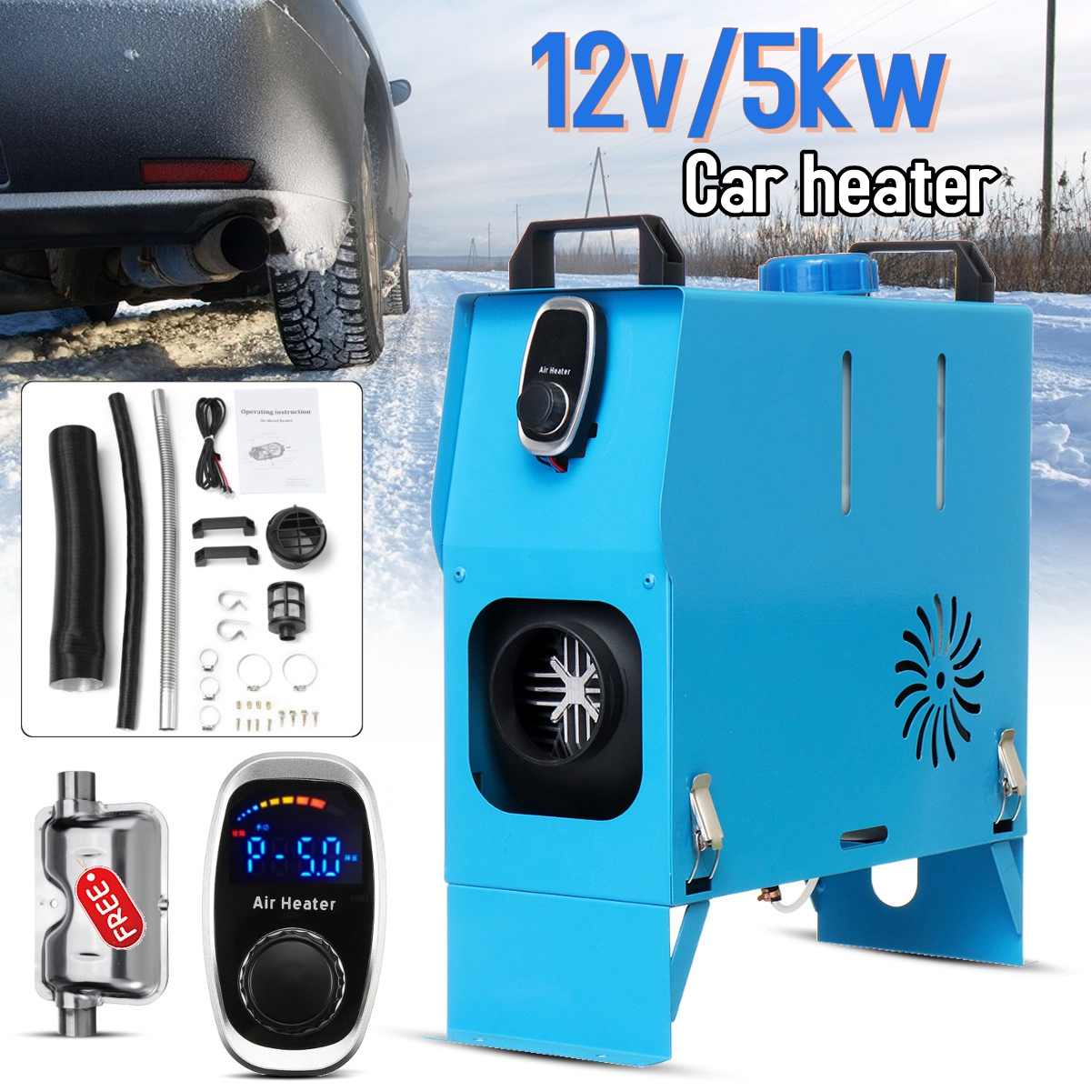 HCalory 12V 5000W/3000W Upgraded Diesel Heater Parking Heater Air Outlet With Digital Switch