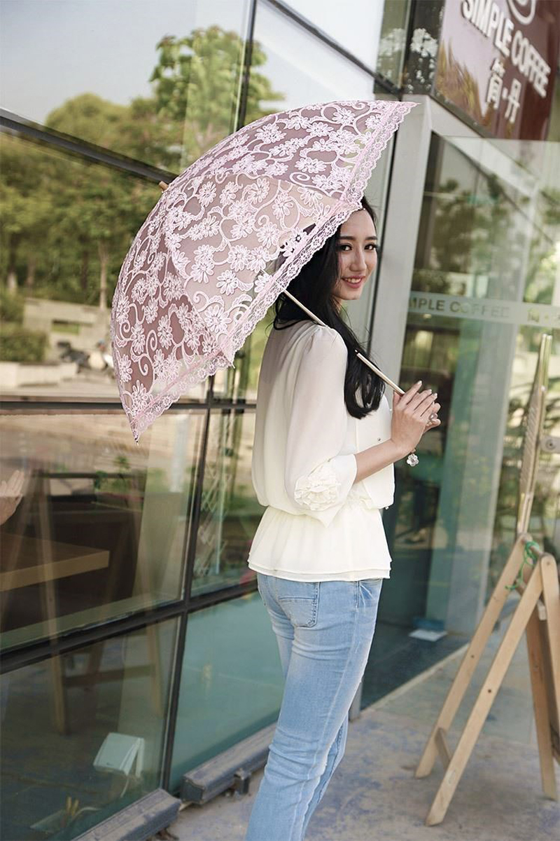 Women Sun Rain Umbrella Compact Lace Three Folding Anti-UV Waterproof Sunshade Umbrellas