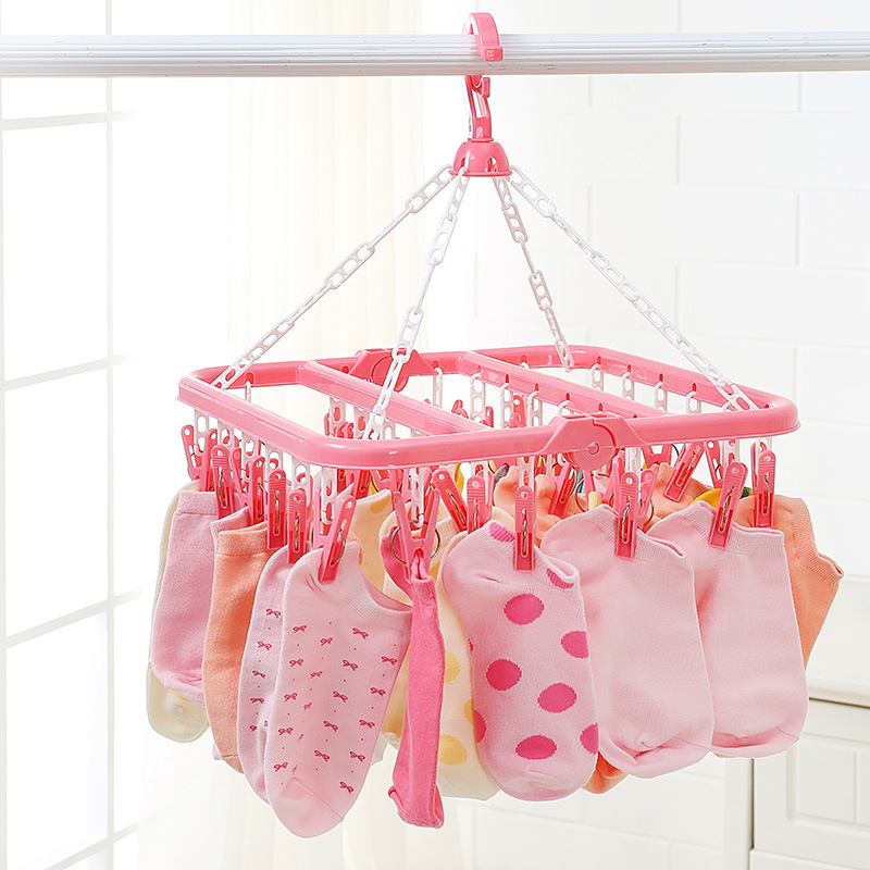32Clip Portable Socks Cloth Hanger Rack Clothespin Multifunctional Drying Rack Sock Holder