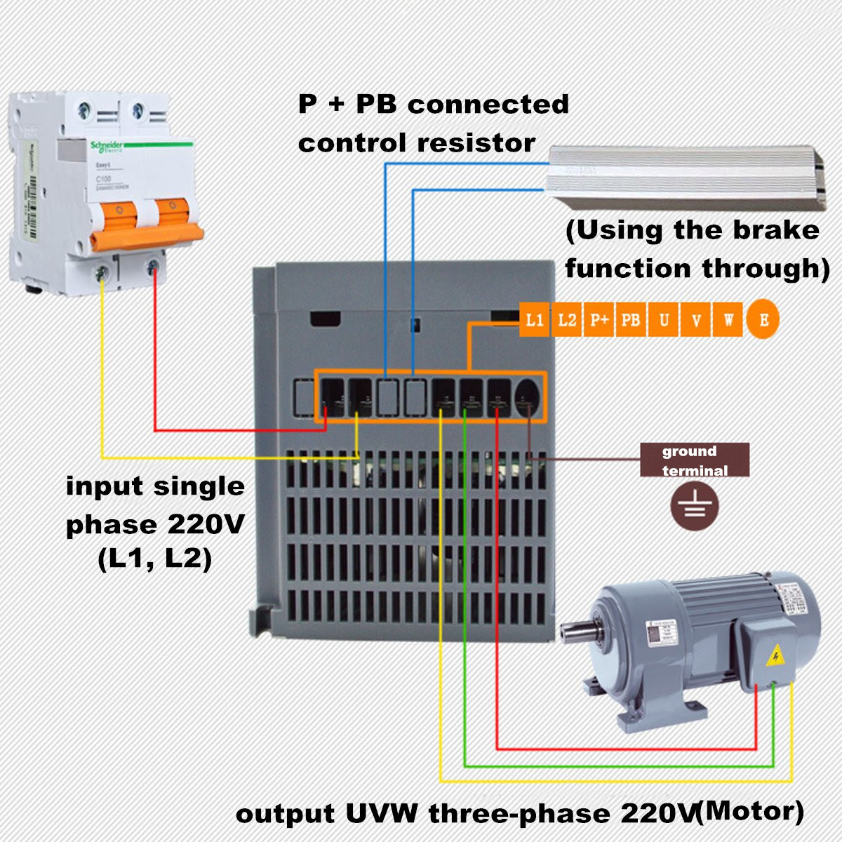 1.5KW 220V AC 7A Single Phase Variable Frequency Inverter General Purpose Gray