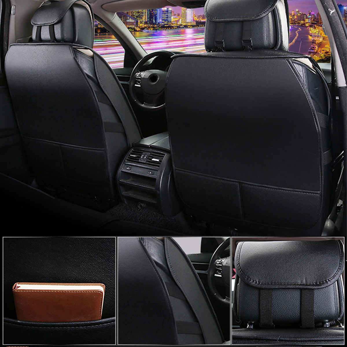 13PCS PU Leather Car Seat Cover Full Set Front Rear with Pillow Waist Cushion Universal for 5-Seats