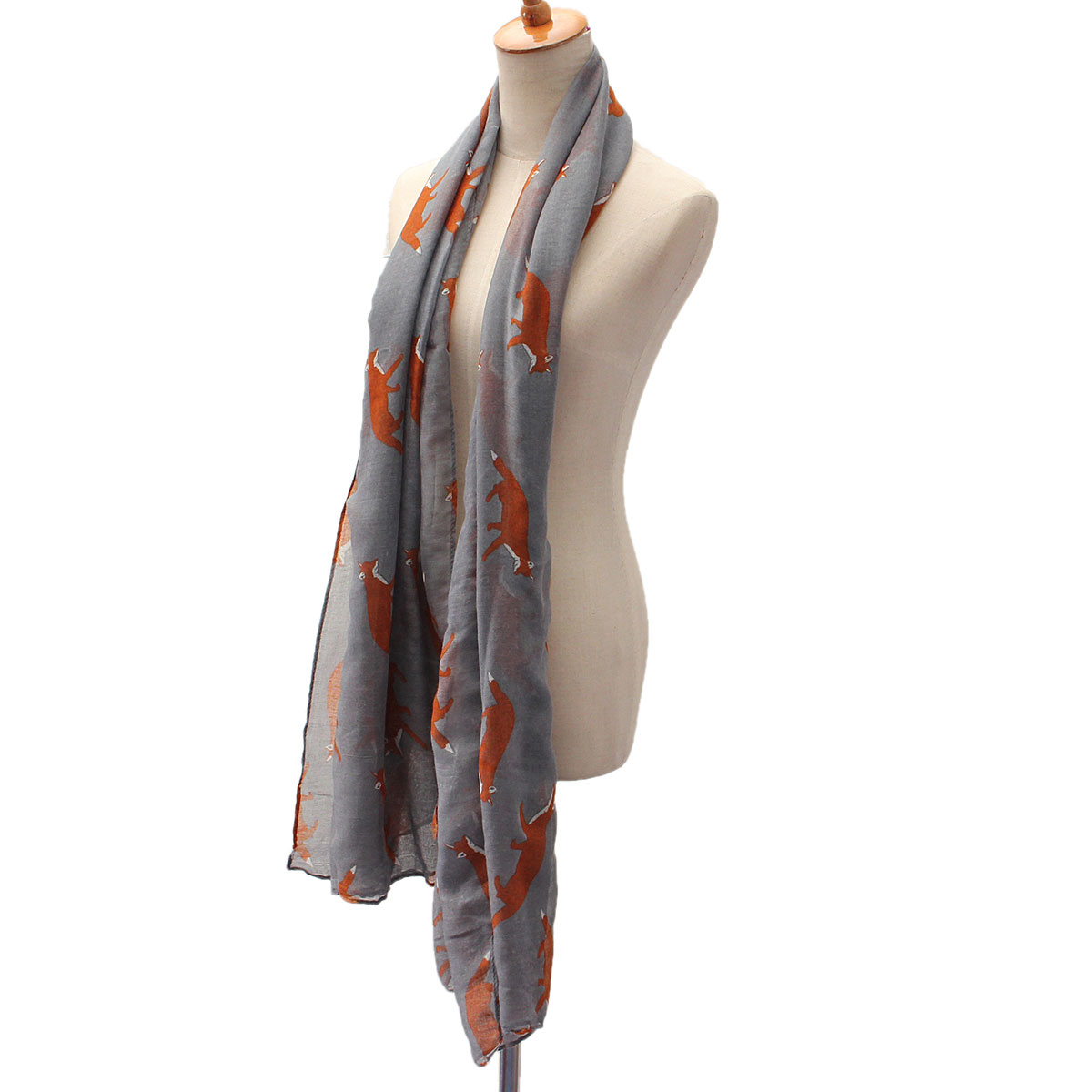 Women Scarf Winter Warm Animal Cute Fox Print Paris Yarn Shawl Wrap Pashmina