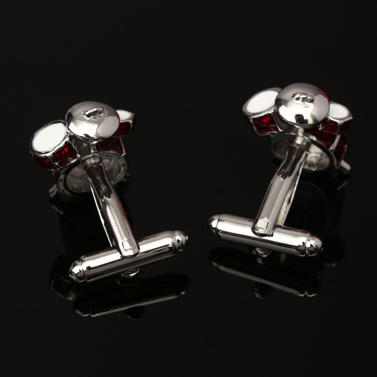 Men Male 3D Red White Drum Pattern Cuff Links Wedding Gift Suit Shirt Accessories
