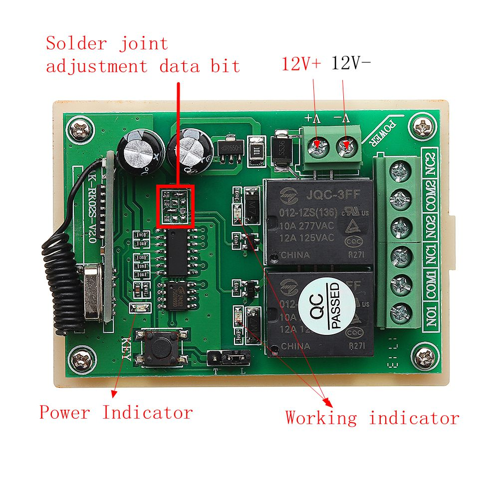 315MHz 12V Motor Forward Reverse Controller Wireless Remote Control Switch With 3 Button Transmitter