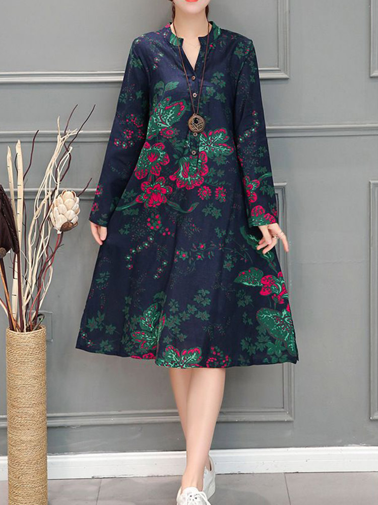 Chinese Style Vintage Floral V-neck Long Sleeve Dress