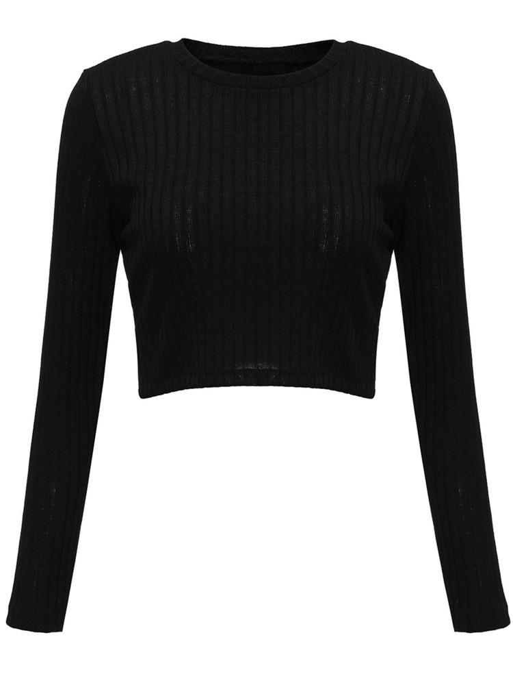 Sexy Criss Cross Backless Knit Solid Color Women Crop Top Blouse