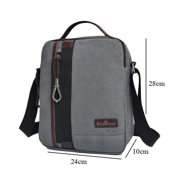 Men Canvas Business Shoulder Bag Casual Canvas Messenger 2 Colors Avaliable