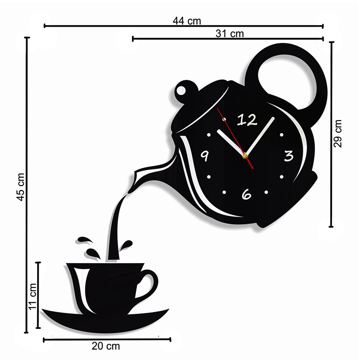DIY Modern Teapot & Cup Acrylic Large Black Wall Clock Home Kitchen Dining Room Deco