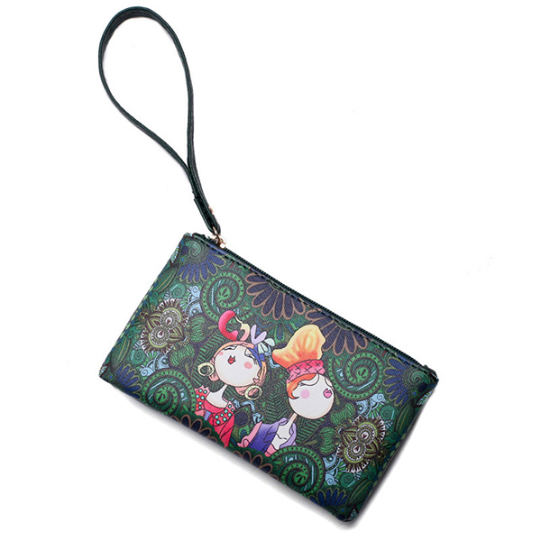 Women Bohemian Print Portable Long Wallet