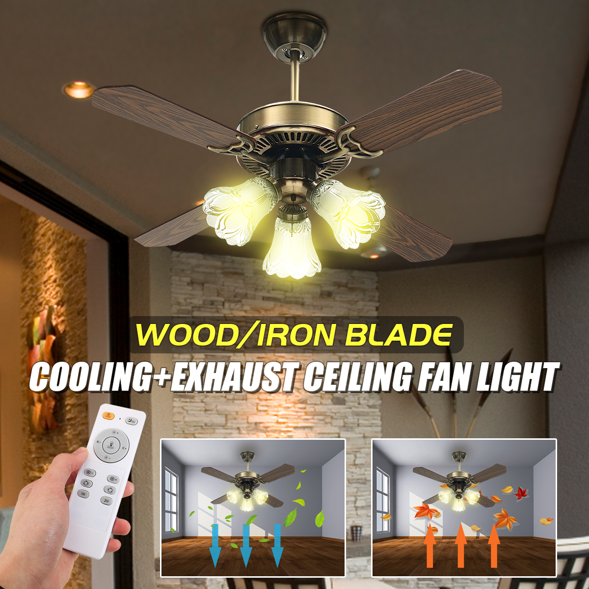 36Inch Antique Ceiling Fan with 3 Lights AC110-240V 4 Wooden Blades with Romote Control 3 Speeds