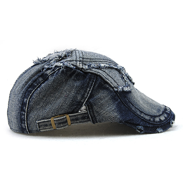 Unisex Cotton Denim Jeans Washed Newsboy Beret Hat Duckbill Golf Buckle Cabbie Cap For Men Women