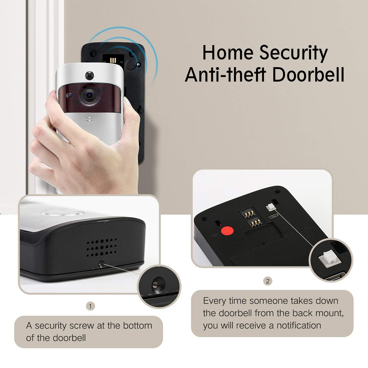 Wireless WiFi Smart Home HD Video DoorBell Camera 166° Phone Ring Intercom System