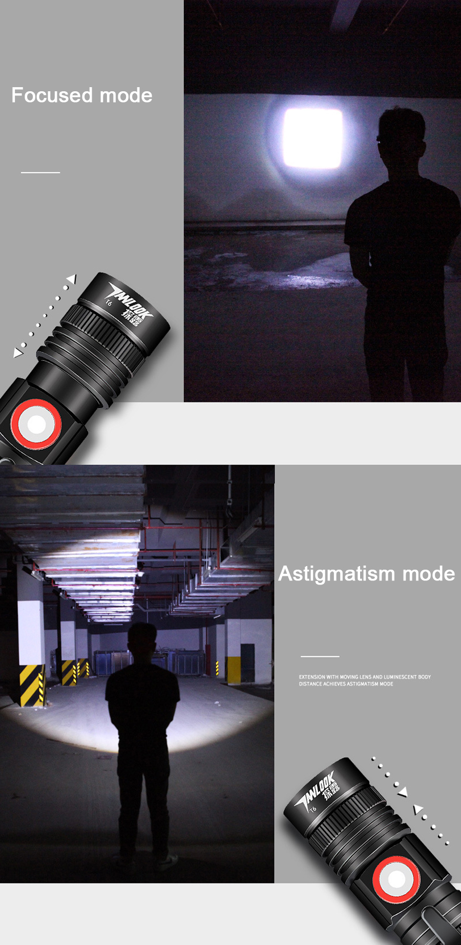 TL-S7 T6 1000Lumens 3Modes Zoomable USB Rechargeable Portable LED Flashlight 18650