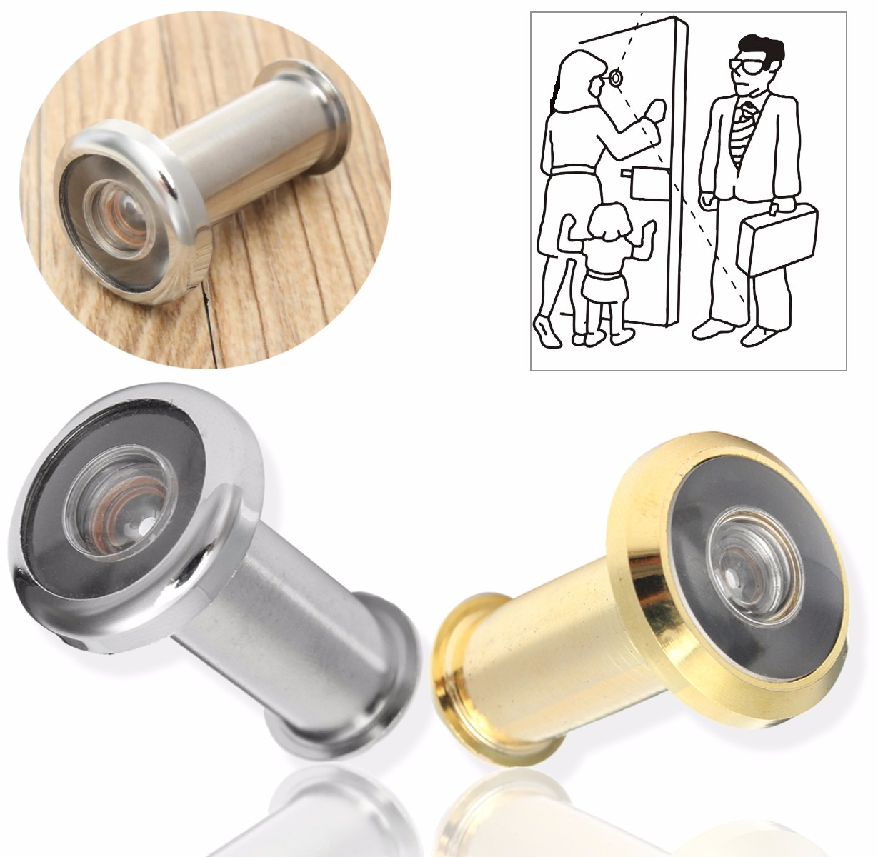 Adjustable Home Security 180 Degree Wide Angle Door Viewer Peep Brass Sight Hole