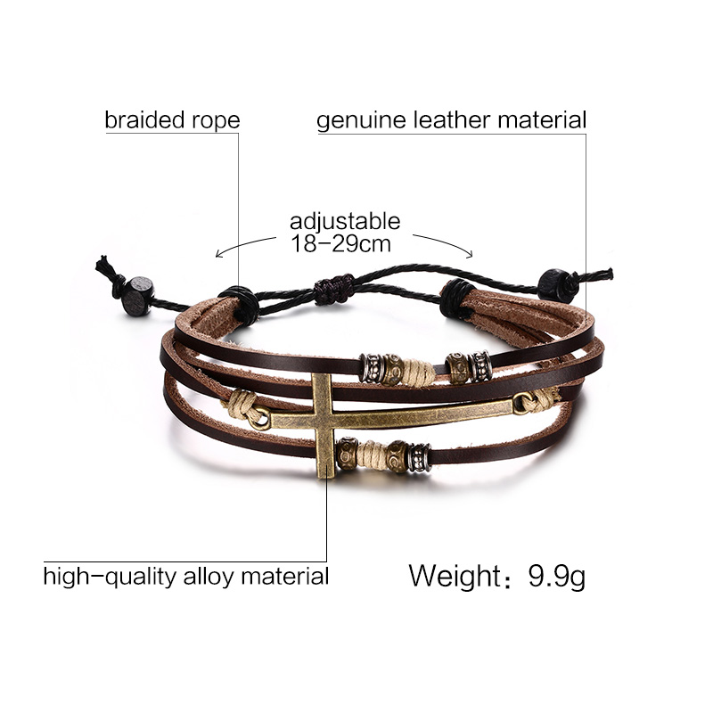 Genuine Leather Cross Bracelets Adjustable Bohemia Bangles