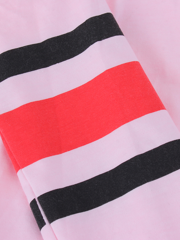 Pink Women Casual Striped Patchwork Long Sleeve O-Neck T-shirts