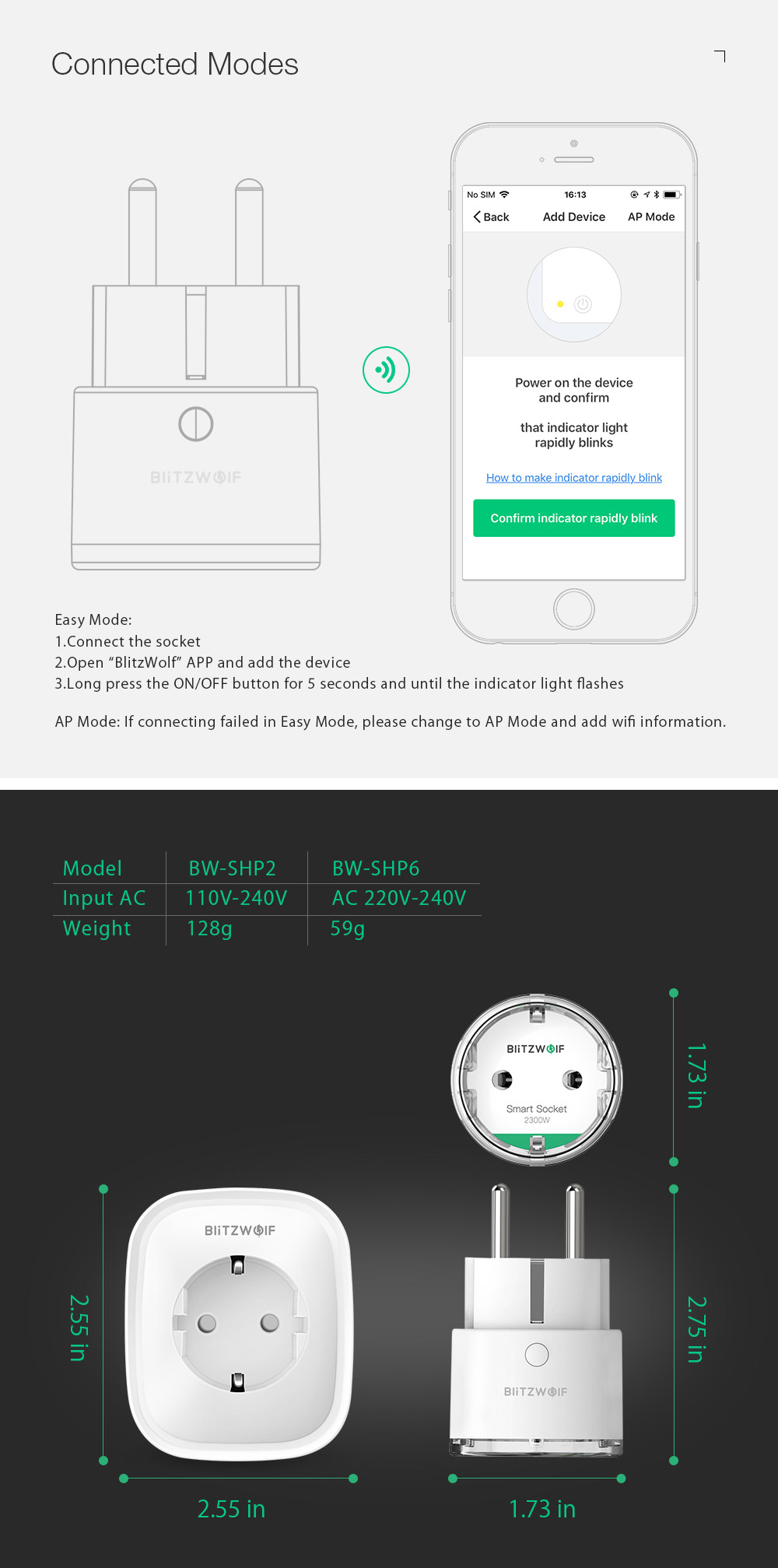 BlitzWolf® BW-SHP6 10A EU Plug Metering Version WIFI Smart Socket 220V-240V Work with Amazon Alexa Google Assistant