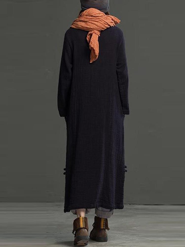L-5XL Solid Color Pocket Maxi Dress