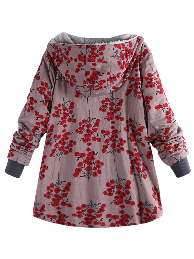 Women Floral Print Fleece Thicken Hooded Coats