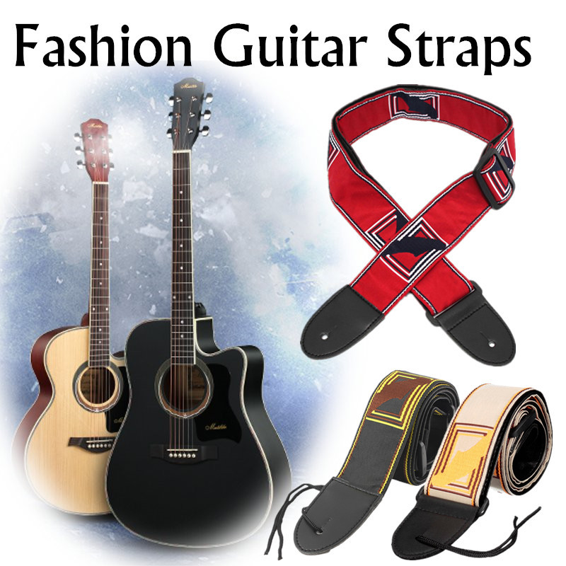 Electric Acoustic Adjustable Nylon Leather Guitar Bass Strap