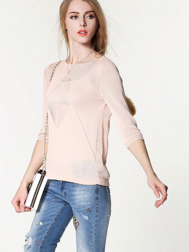 Women Hollow Smock Thin Pullover O-Neck 3/4 Sleeve Loose Knitwear