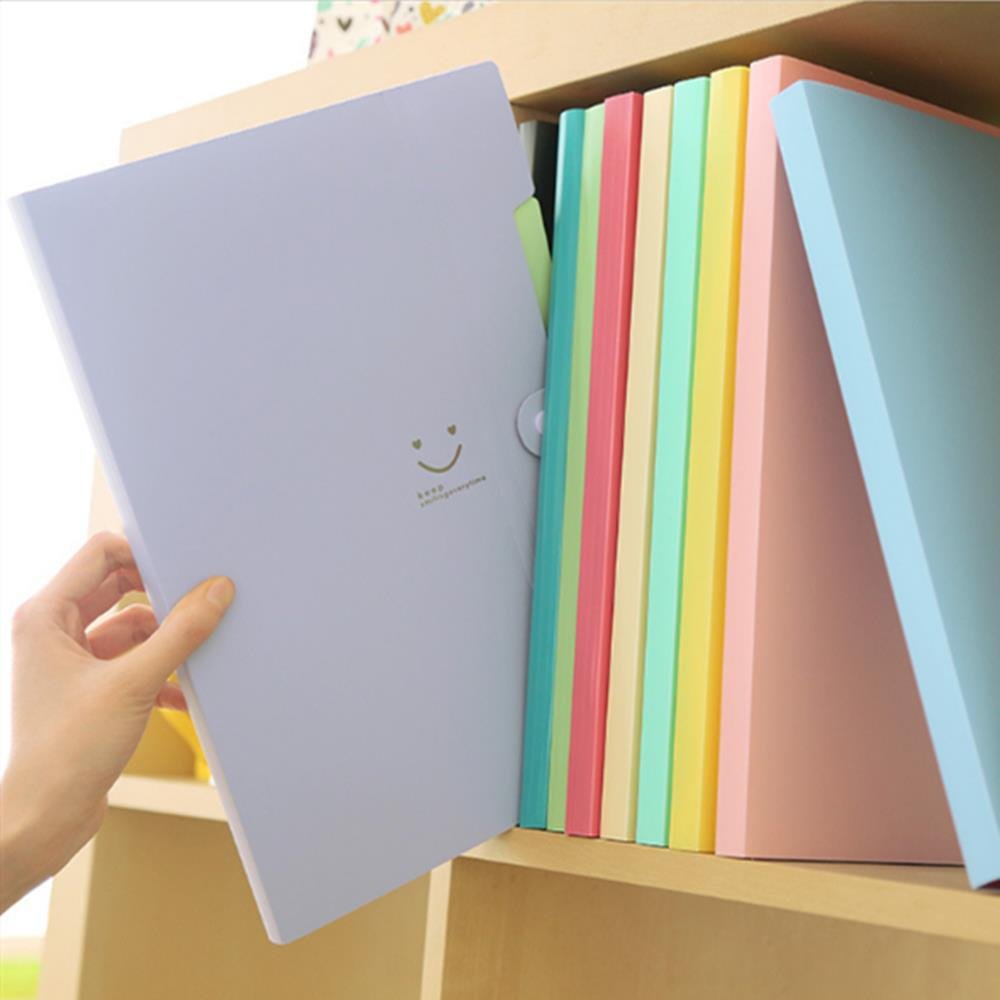 A4 Smile Waterproof File Folder 5 Layers Document Paper Storage Organizer Bag Office School Supplies