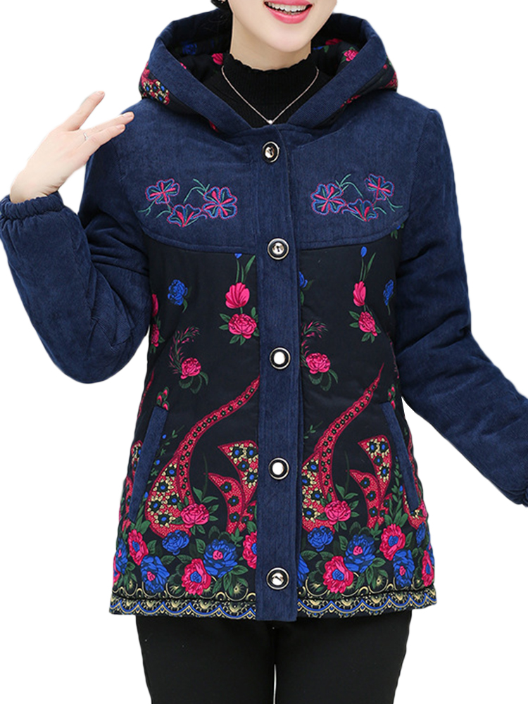Folk Style Embroidery Fleece Thicken Hooded Coats
