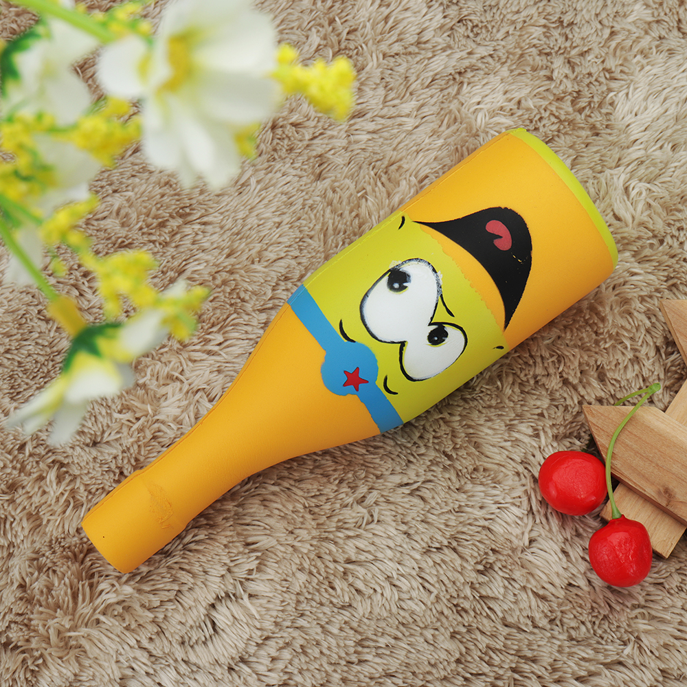Squishy Jumbo Yellow Beer Bottle 20cm Slow Rising Soft Collection Gift Decor Toy