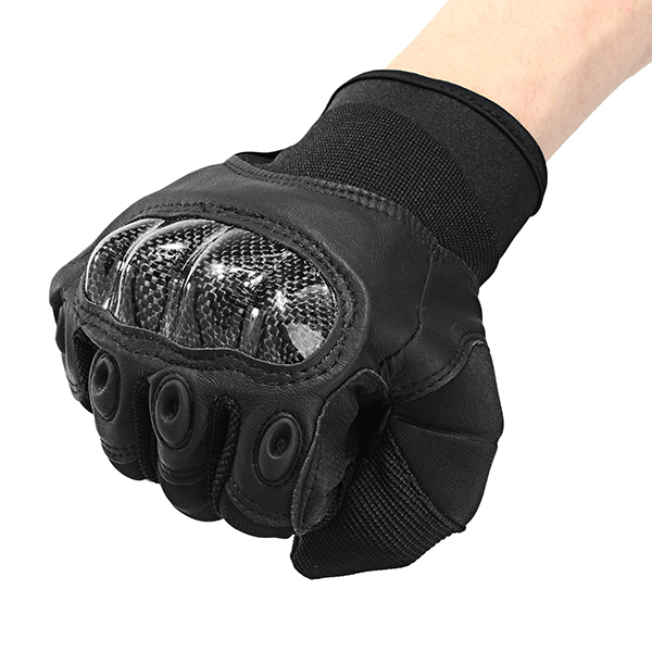 Leather Full Finger Gloves For Tactical Outdoor Sport Motorcycle Cycling Black