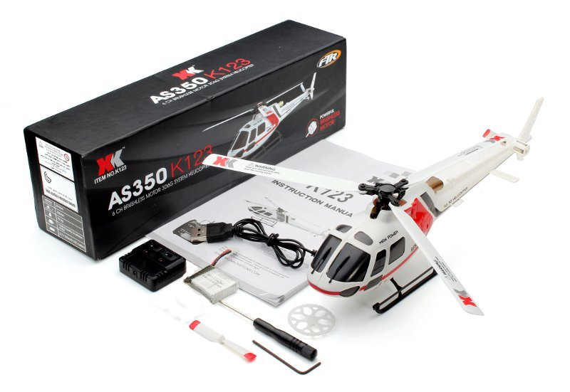XK K123 6CH Brushless AS350 Scale 3D6G System RC Helicopter BNF