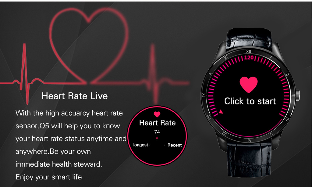 Finow Q5 Smart Watch Phone Heart Rate Monitor Call SIM Card GPS Tracker for Android IOS
