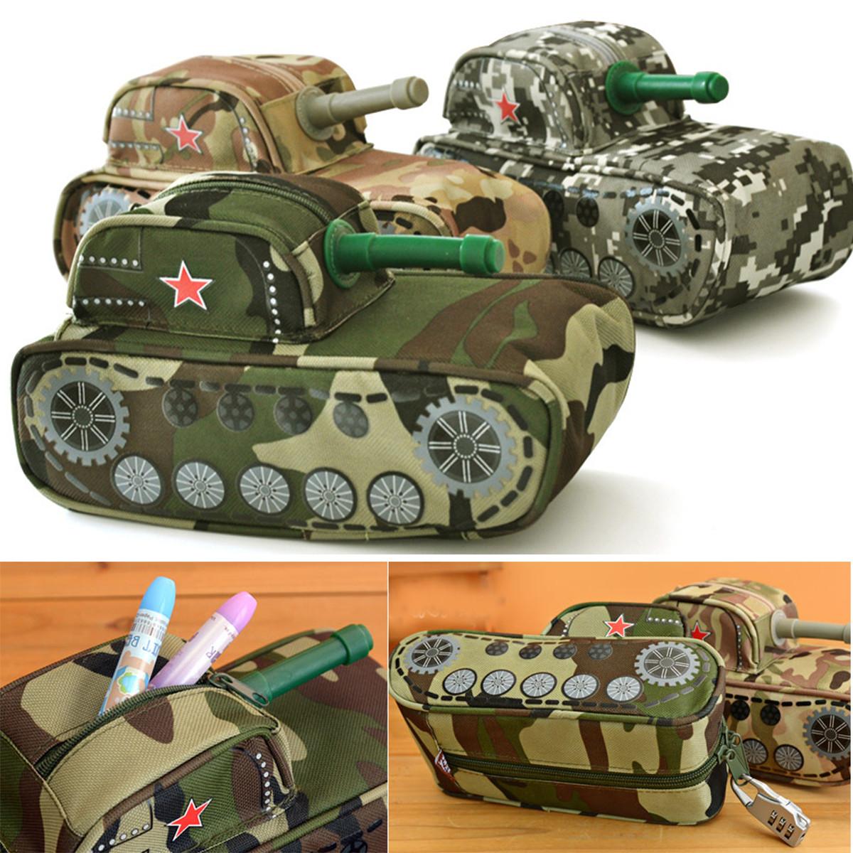 Cool Tank Shape Pencil Case Bag Pen Box Stationery Boy's School Pen Case Purse Fountain Pen Case