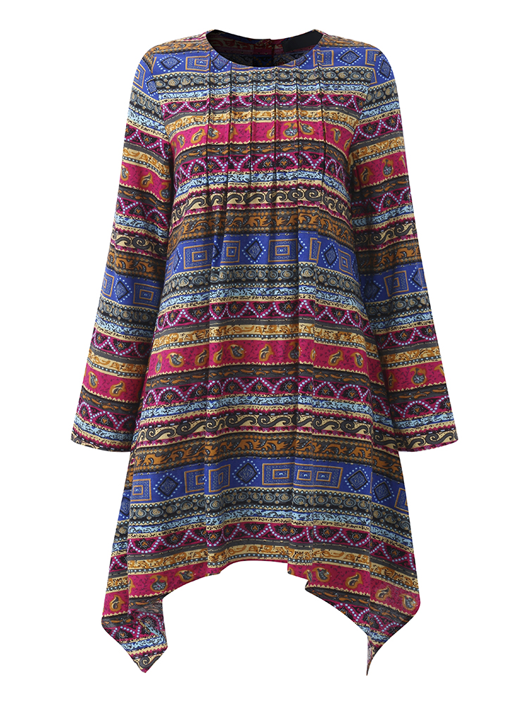 Gracila Ethnic Printed Long Sleeve Women Asymmetric Blouses