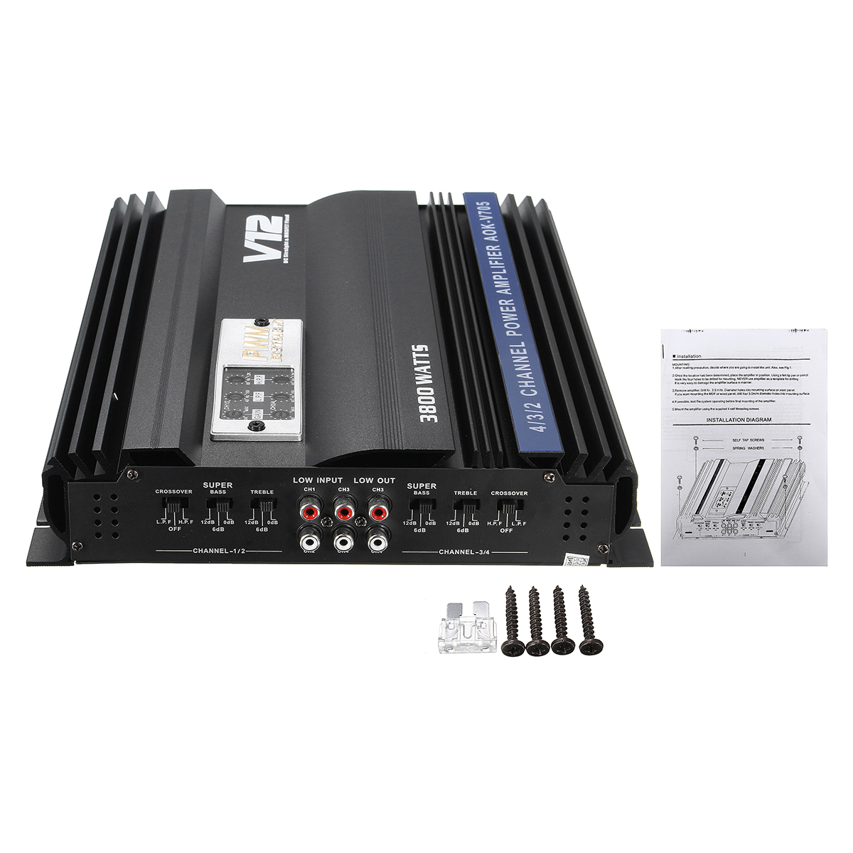 3800W RMS 4 Channel 4 Ohm Powerful Car Audio Power Stereo Amplifier Amp