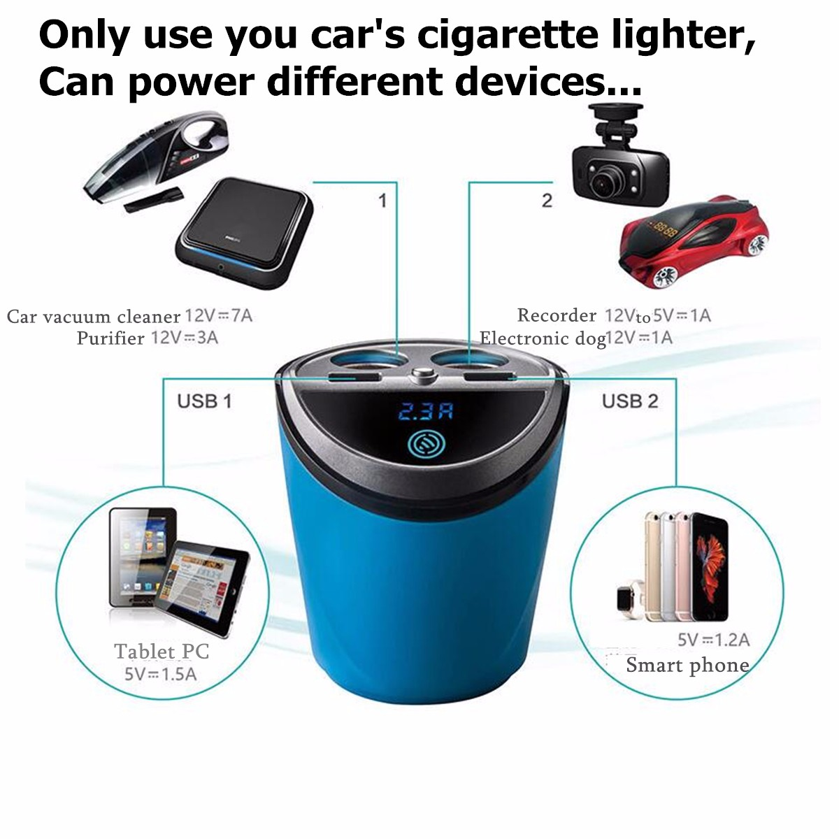 Dual USB Car Charger With Voltage Current Display Car Cup Holder 2 Port Car Cigarette Lighters