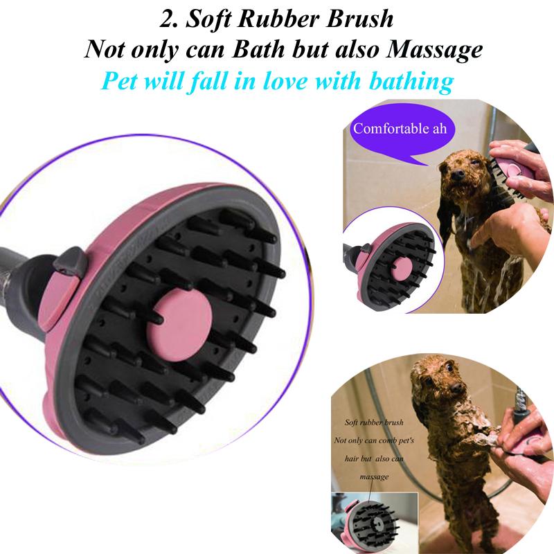 Multifunctional Pet Dog Cat Shower Head Shampoo Brush Grooming Bath Water Spray Sprayer
