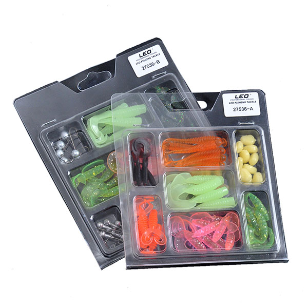 LEO 52Pcs Fishing Lures Lead Hooks Soft Bait Set Bass L