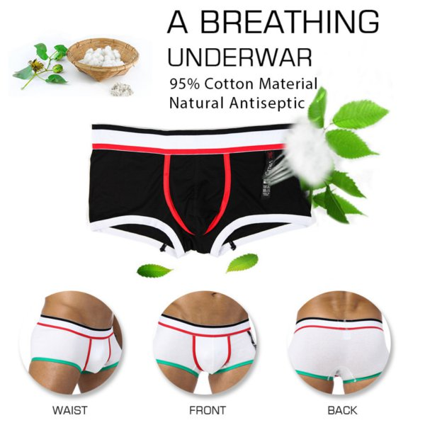 Mens Sexy Elastic Cotton Low Waist Breathable Boxer U Convex Pouch Underwear