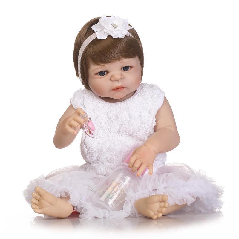 NPK 22inch Reborn Baby Doll Realistic Lifelike Girl Doll Vinyl Play House Toy