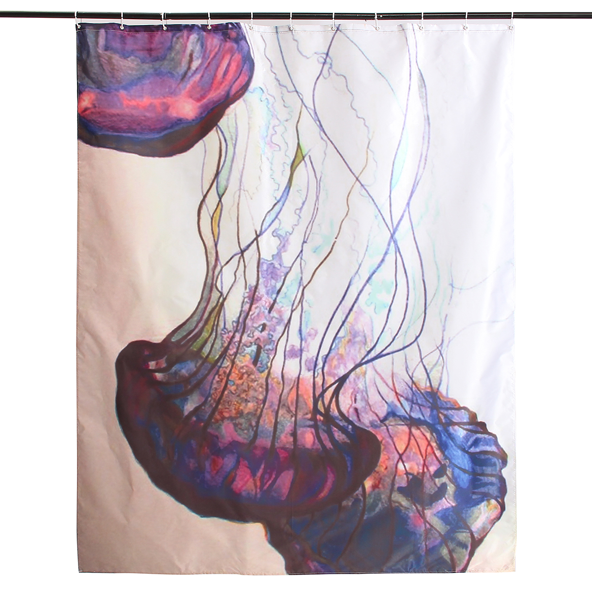 150x180cm Waterproof Jellyfish Pattern Polyester Shower Curtain Bathroom Decor with 12 Hooks
