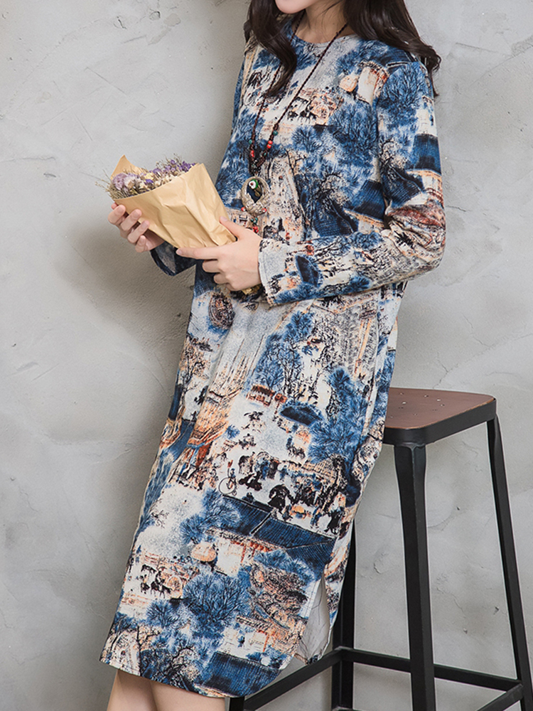 Chinese Style Women Long Sleeve Scenery Printed Mid Long Dresses