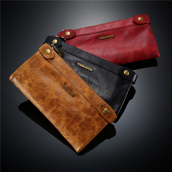 Genuine Leather Double Zipper Long Wallets Retro Purse Card Holder 5.5'' Phone Bags For Iphone 7P