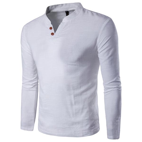 Mens Spring Casual Linen V-neck Collar Long Sleeve T-shirt Fashion Solid  Color bd40e1ced83