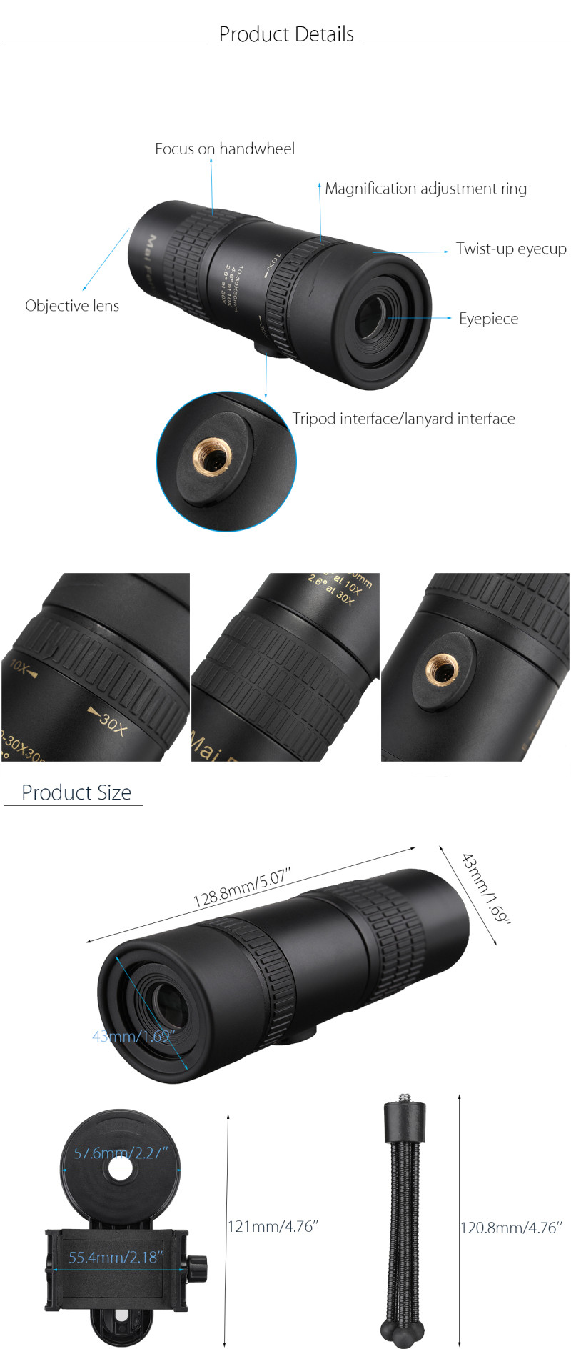 IPRee® 10-30x Telephoto Telescope Monocular Camera Lens with Cell Phone Clip Tripod Stand