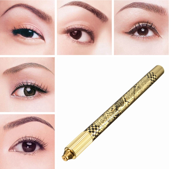 Permanent Manual Eyebrow Gold Pen Microblading Eye Brow Tattoo Machine Professional Makeup Tools
