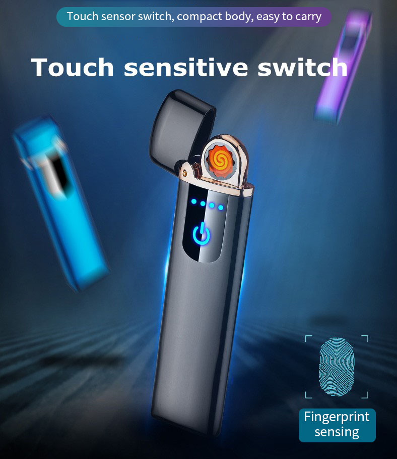 KCASA KC-012 USB Lighter Electric Arc Lighter Rechargeable Fingerprint Sensing Touch Screen Switch Windproof Lighter Gifts for Men And Women