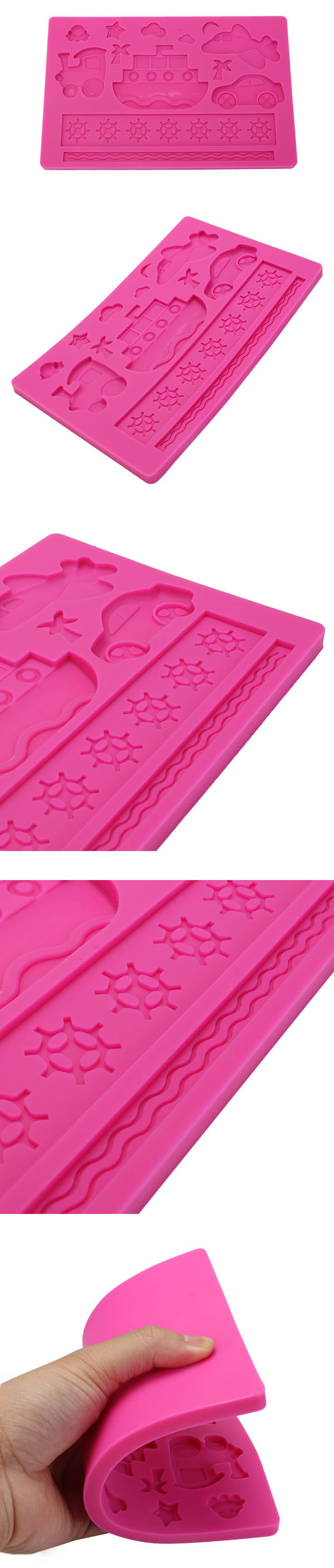 Plane Ship Silicone Embossing Mould Fondant Cake Mold Creative Baking Tools