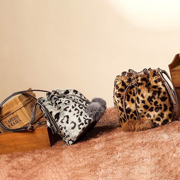 Women Leopard Print Bucket Bag Faux Leather String Bag