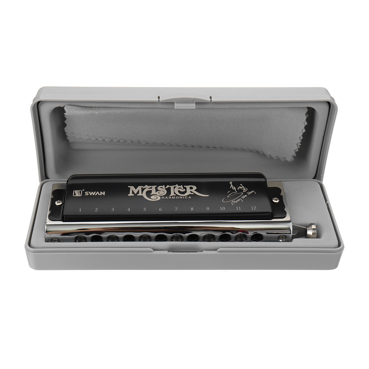 Swan SW1248H-1 12 Holes 48 Tones Chromatic Harmonica Double Boards Switchable Tones Rounded Mouthpiece