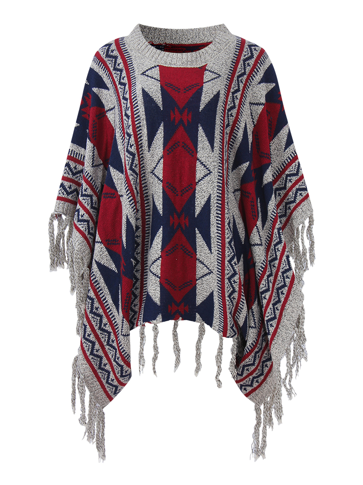 Vintage Women Geometric Patterns Printed Tassels O-Neck Pullover Knit Cloak Sweater